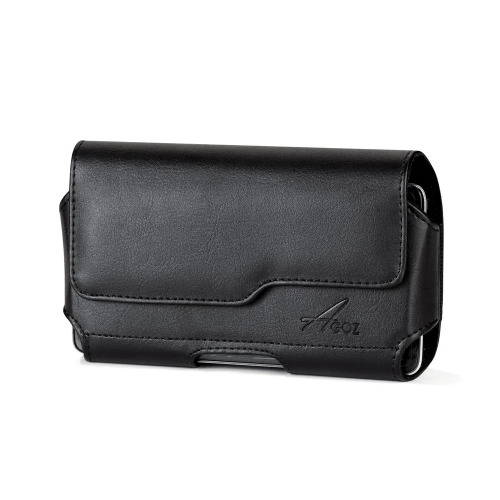 kyocera duraforce premium leather holster case pouch cover vegan  magnetic closure belt clip