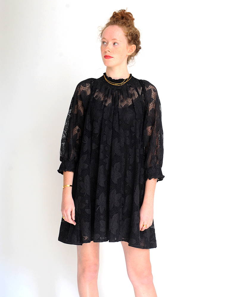 By TiMo Autumn Lace Tunic Dress in Anthracite Black as seen on The Hambledon's model