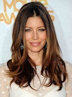 Woman with brown layered long hair