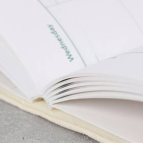 Opens flat - Wanna This Tailorbird color fabric dateless weekly planner