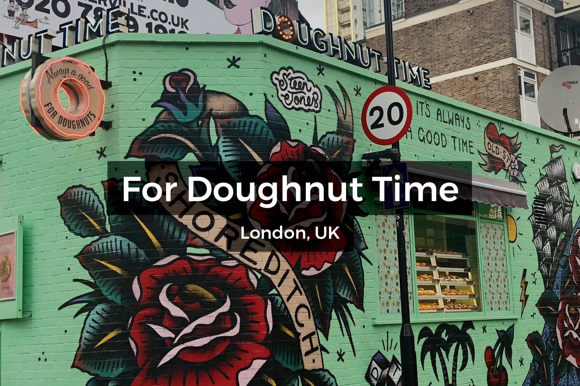 Doughnut Time mural in Shoreditch, London UK by Steen Jones