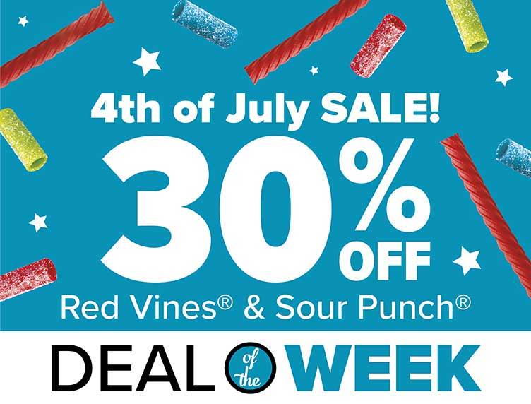 4th of July Sale! 30% OFF Red Vines & Sour Punch Candy