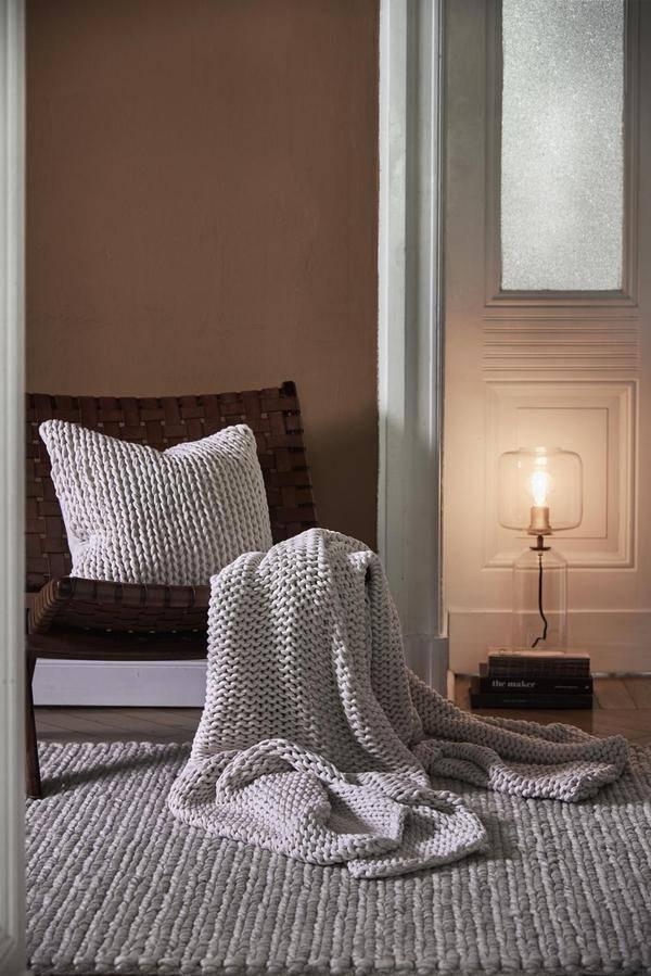 Hygge-Stil, Wollteppich, Strickdecke 100% Baumwolle