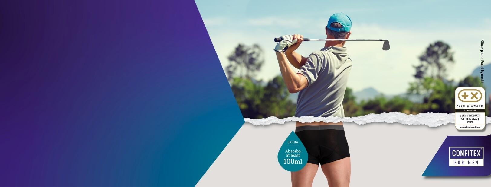 A golfer wearing Confitex for Men Extra absorbent underwear