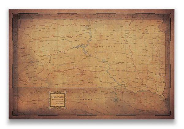 South Dakota Push pin travel map golden aged