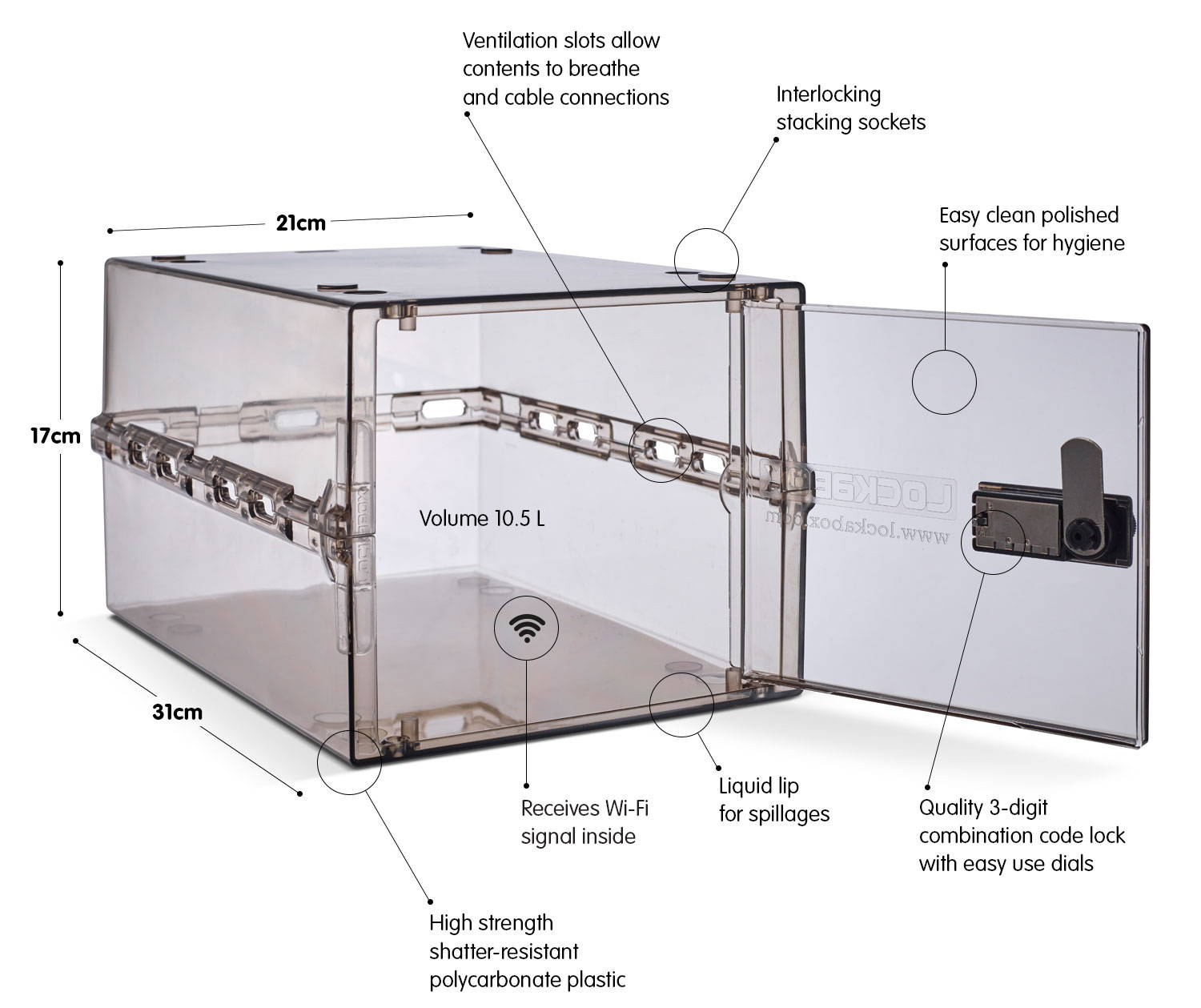 Technical features of the Lockabox One lockable storage solution