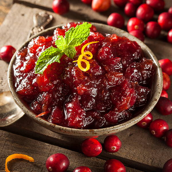 High Quality Organics Express homemade cranberry sauce with orange zest