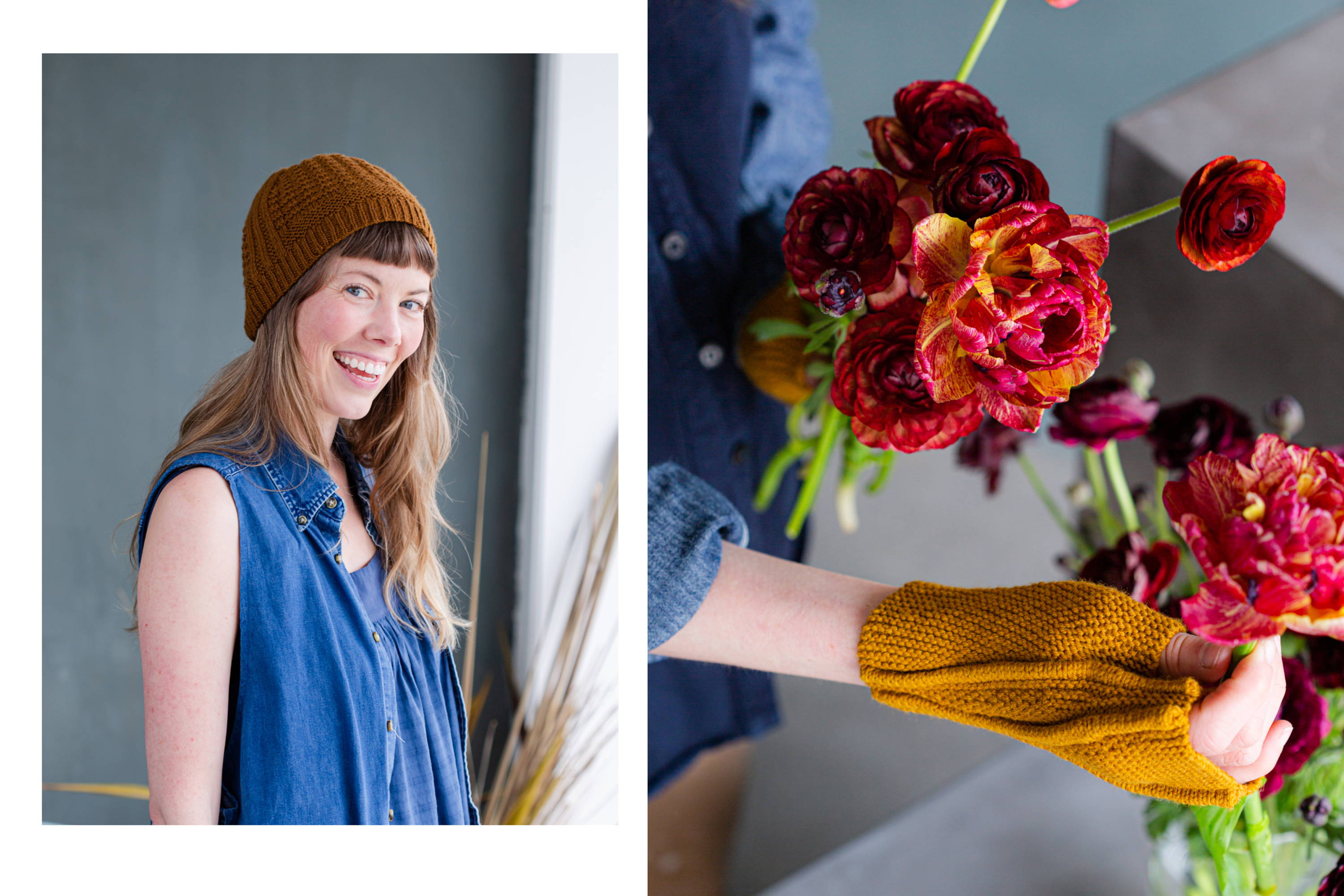 Image of Alyssa modeling Gault hat left, Alyssa modeling Limn while arranging flowers right
