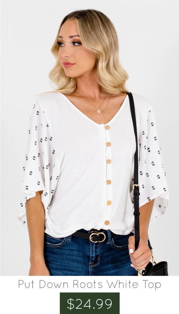 38d6c8444761 White Button Up Embroidered Tops Affordable Online Boutique