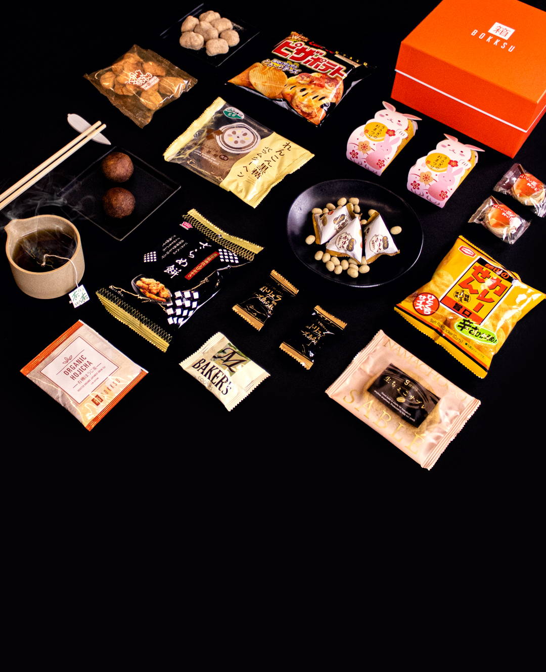 japanese snack subscription box with snacks laid out