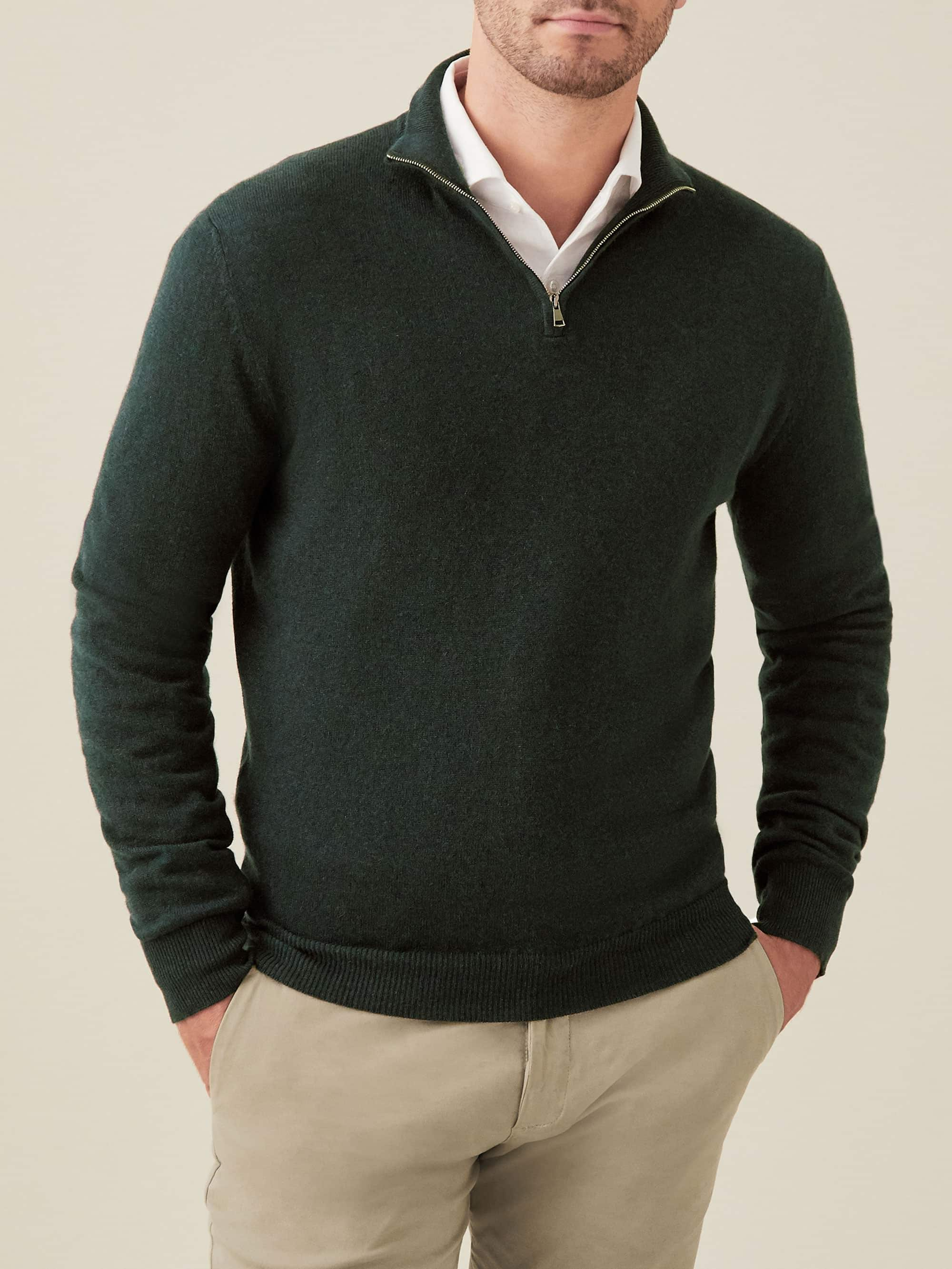 Luca Faloni Forest Green Pure Cashmere Zip-up Made in Italy
