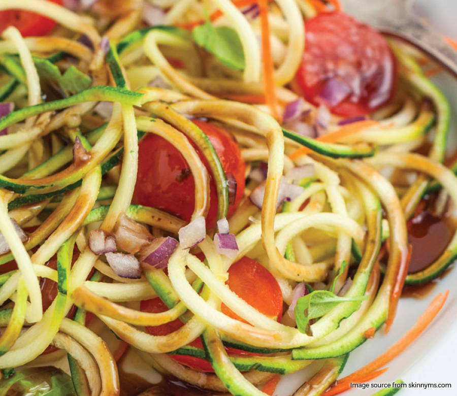 Zucchini Noodle Tomato Salad with Balsamic Dressing
