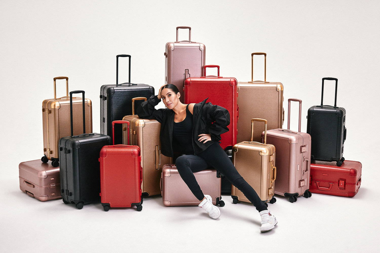 Jen Atkin with CALPAK premium luggage collection