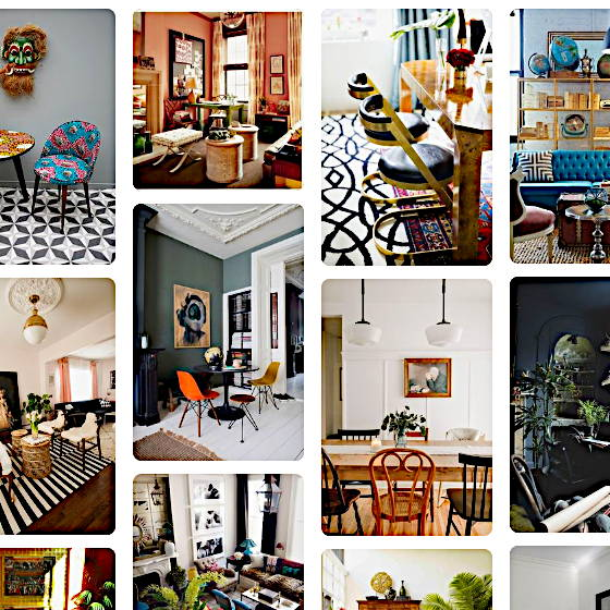 A Pinterest collage of photos of living areas of different homes decorated in the artful eclectic style.