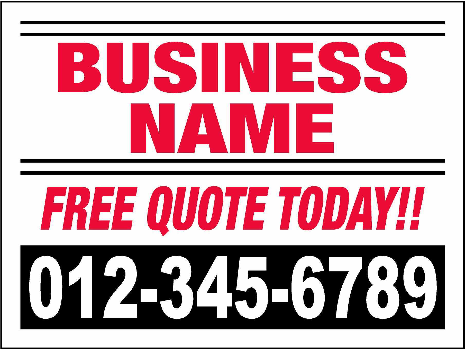 Business Yard Sign Example