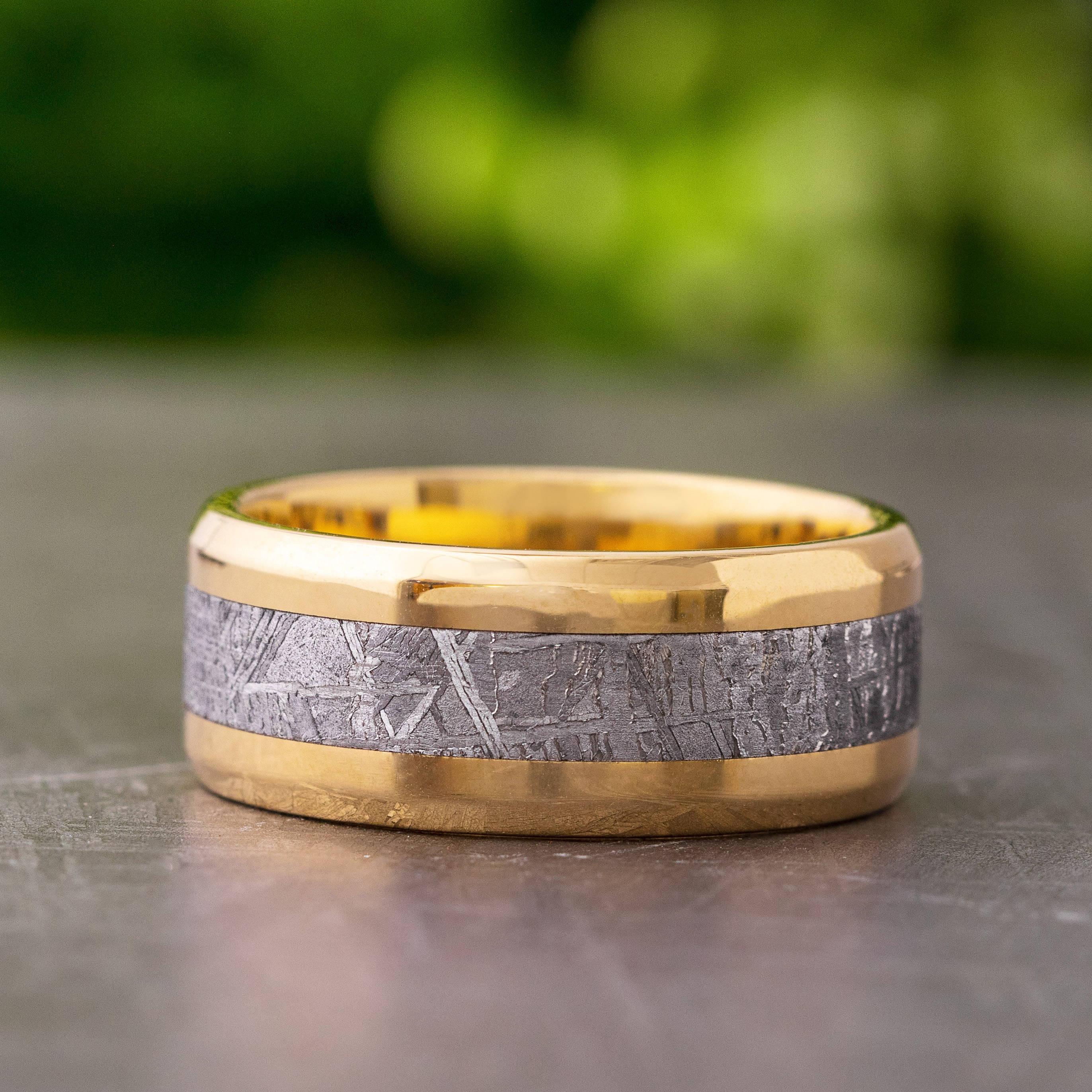 Yellow Gold Meteorite Ring