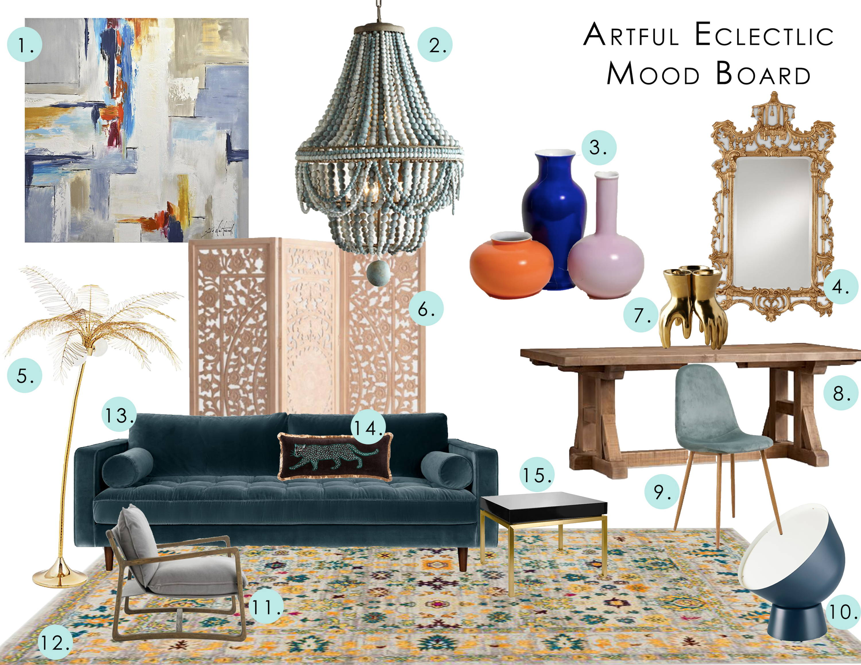 interior design mood board in the artful eclectic design style