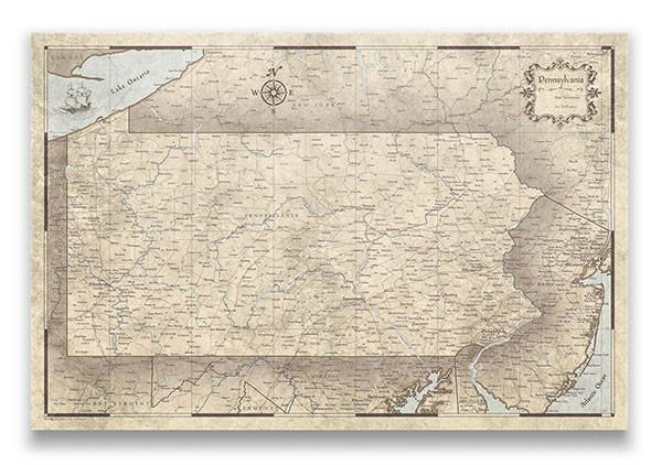 Pennsylvania Push pin travel map rustic vintage