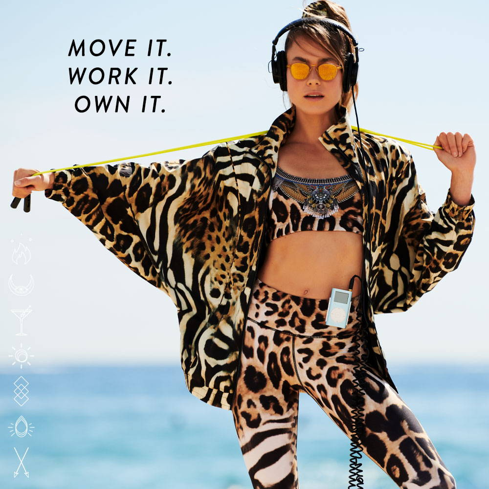 CAMILLA leopard print activewear   jacket, crop and leggings