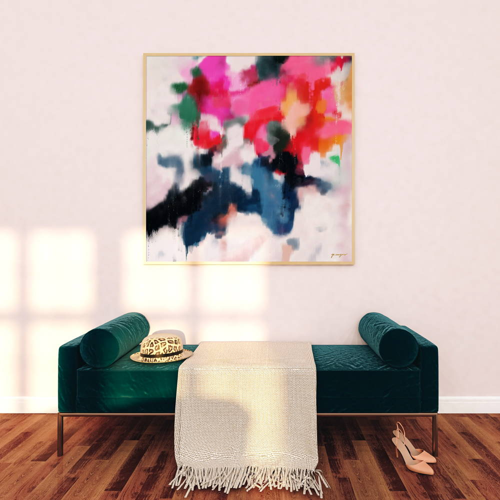 Essi, 40x40 art print. Large pink and blue oversized art in entryway.