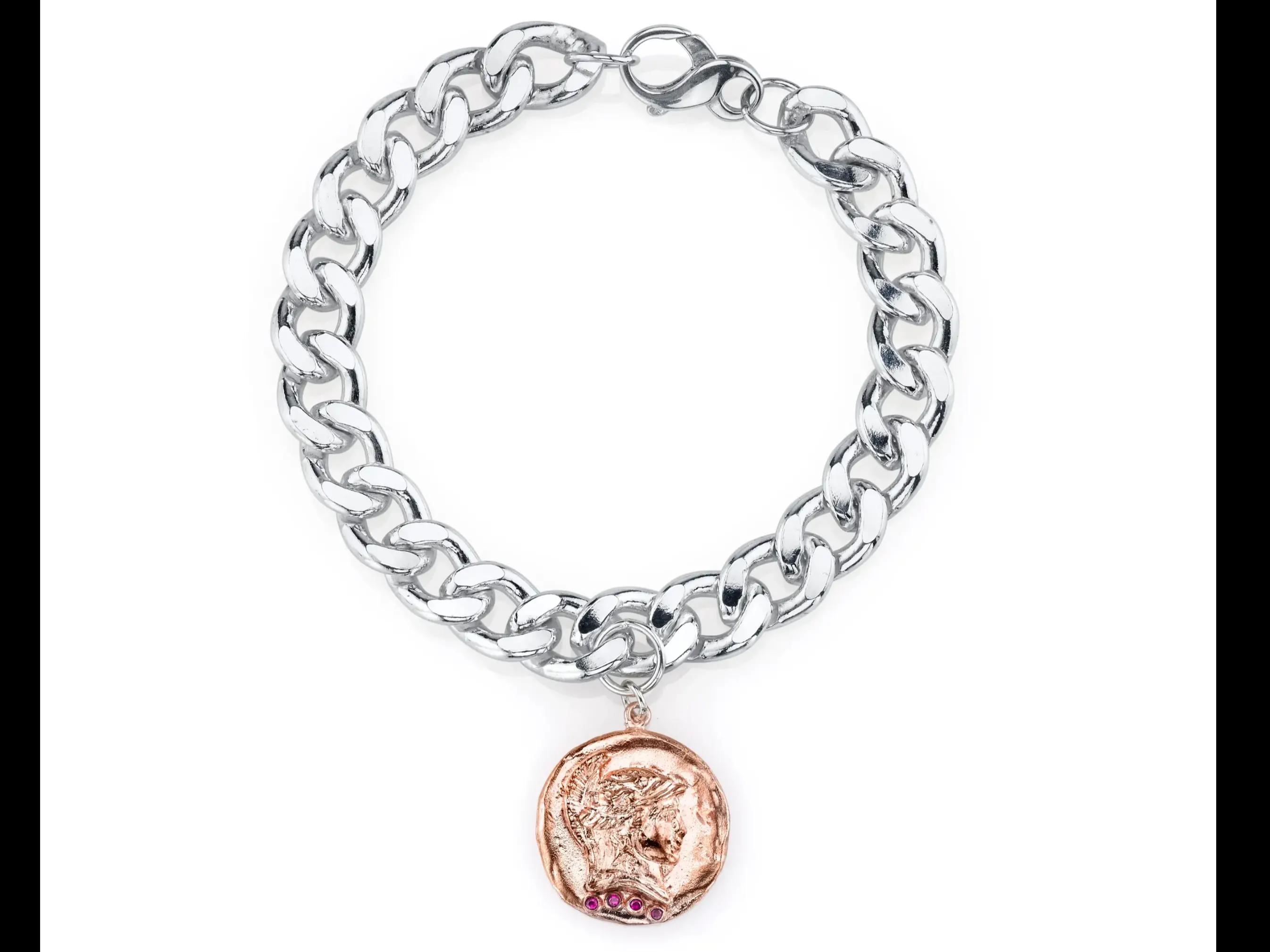 The Roman Token Chunk Chain Bracelet with Diamonds