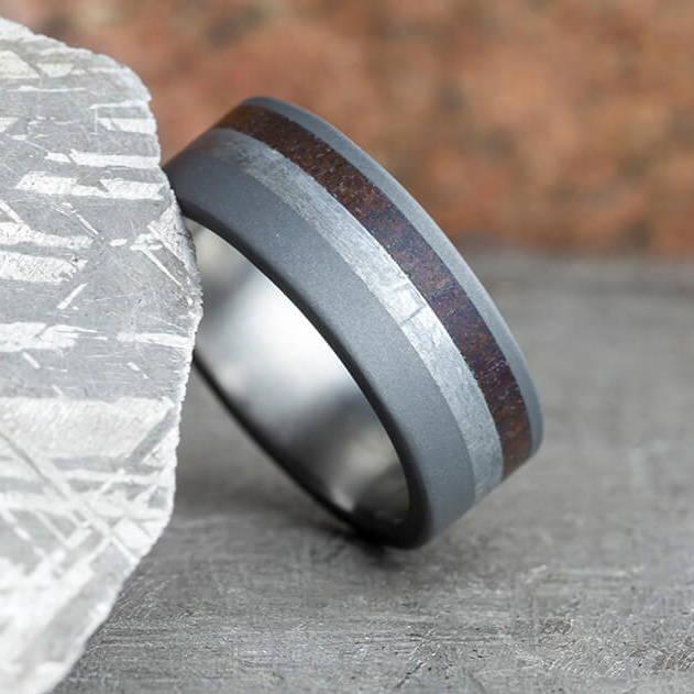 Meteorite and Dino Bone Ring in Sandblasted Titanium