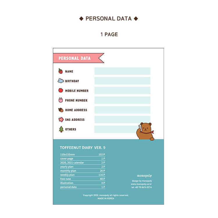 Personal data - Monopoly 2020 Toffeenut friends dated weekly diary planner