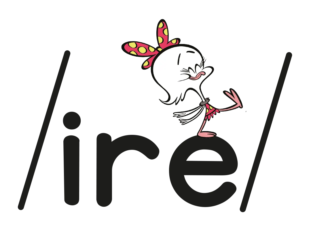 Illustrated character next to the phoneme /ire/