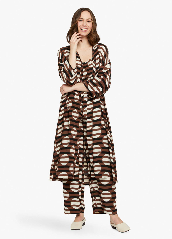 Jossla Duster in Tiramisu Stripe and Dot Print - On Model