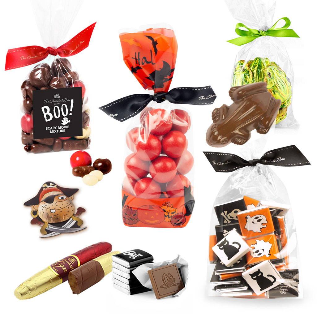 Halloween Range with chocolate orange balls, milk chocolate frogs and halloween neapolitans.