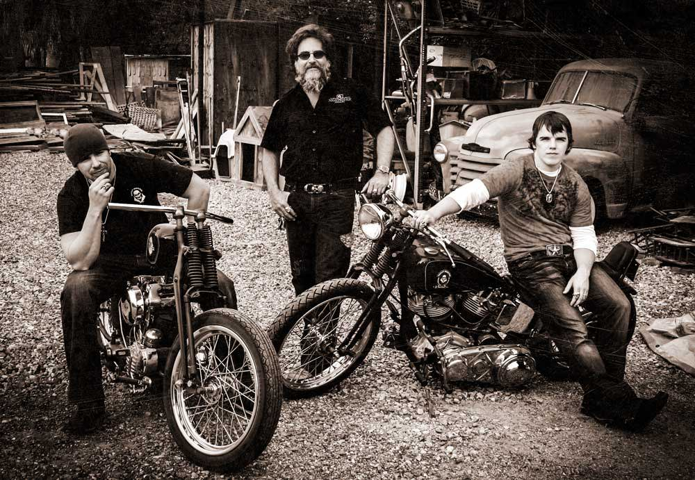 The Three Founders of NightRider Jewelry Sitting on Vintage Motorcycles