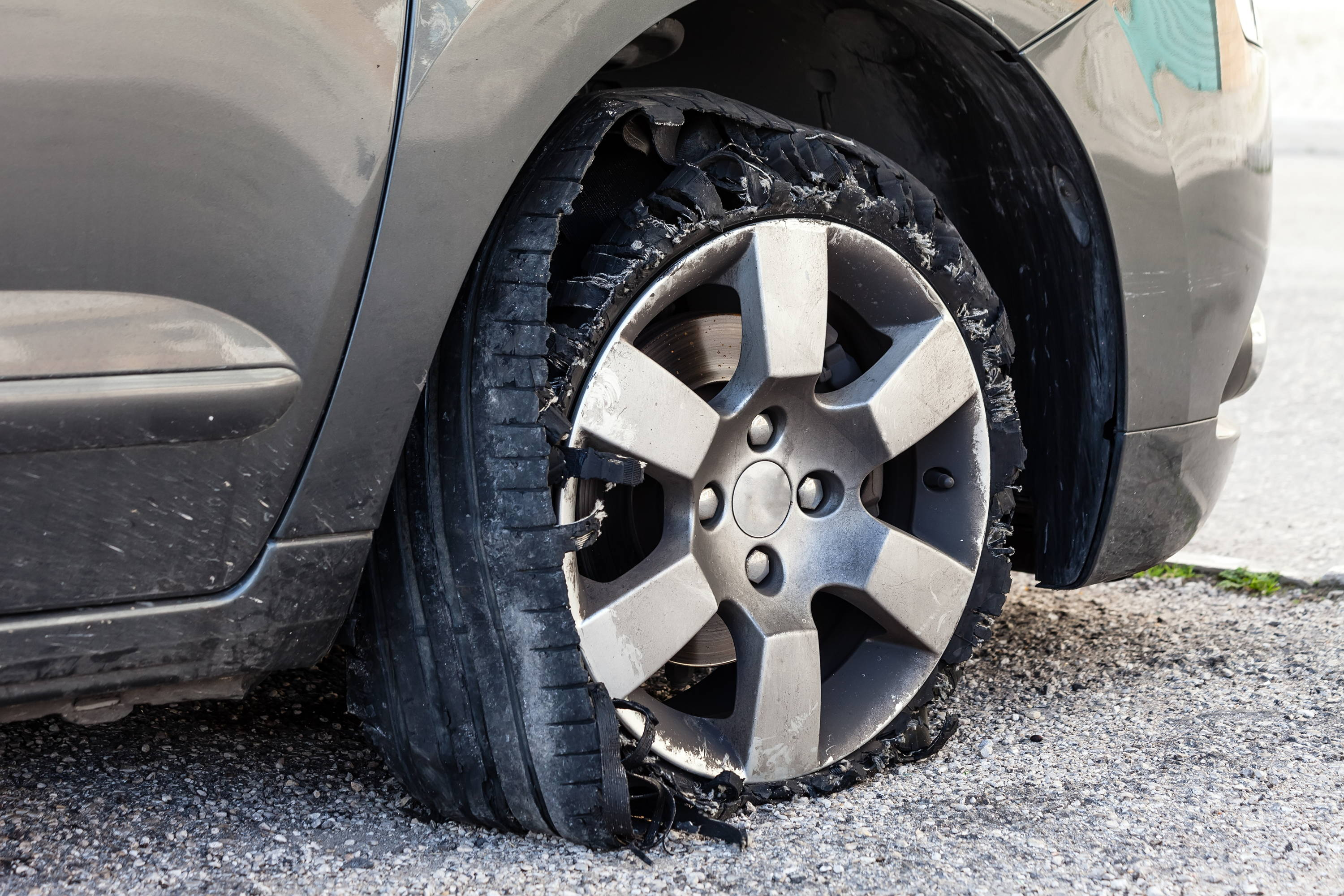 A tire blow out.