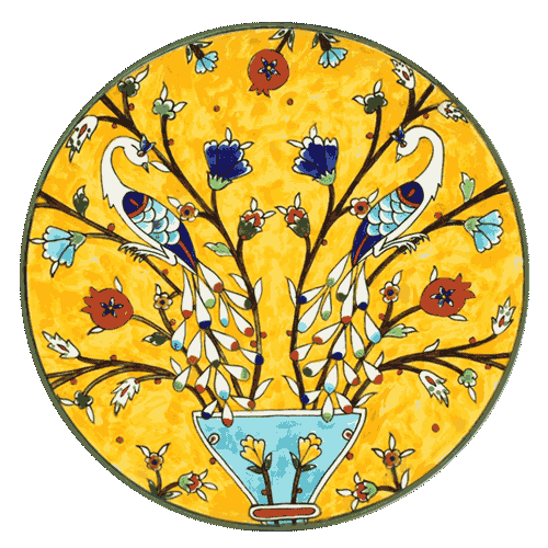 Hand painted plate with two peacocks on a yellow background, 13 inches in diameter