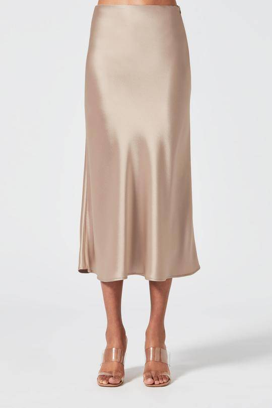 Galvan London Satin Midi Nude Skirt