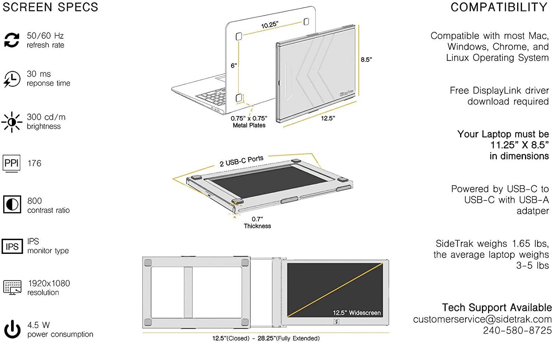 SideTrak laptop dual monitor screen specs