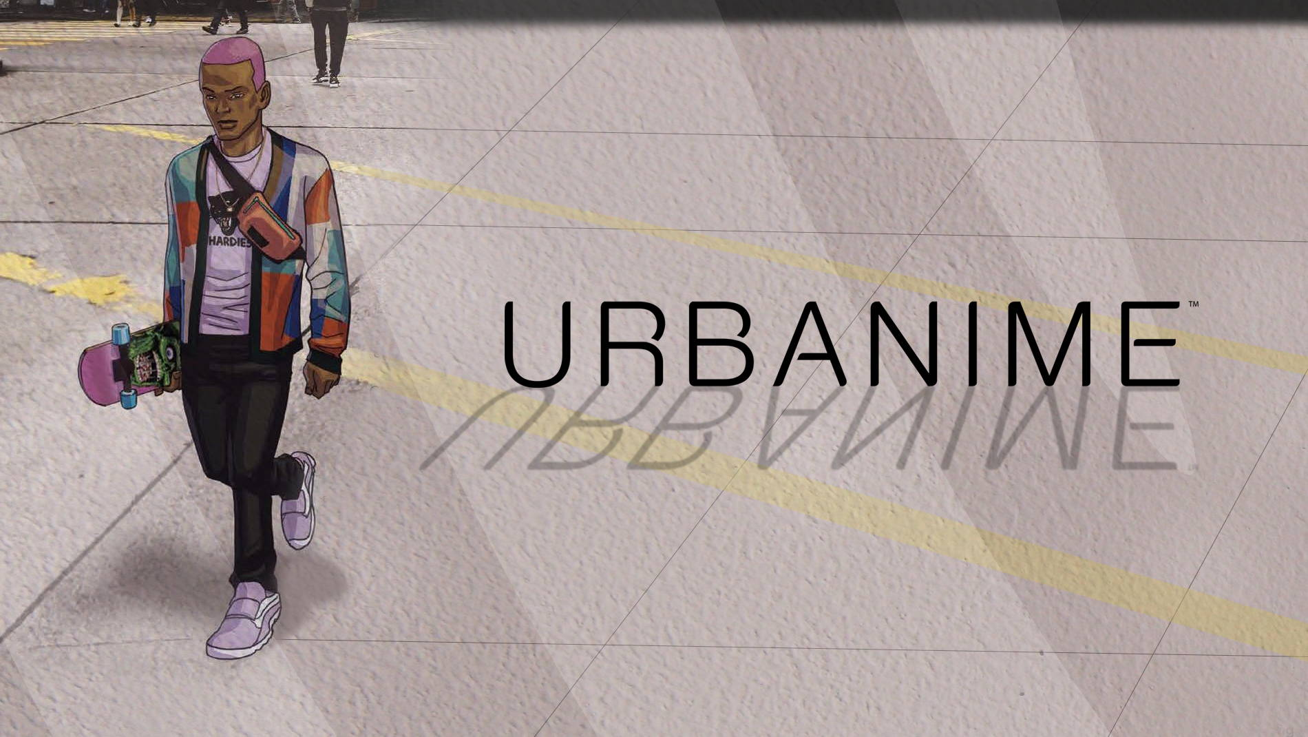 Image of an African American man drawn in an anime style as he walks across a photograph of a NYC street. He has pink dyed hair, a geometric cardigan, a graphic tee, a skateboard, and the Rascal Belt Bag by Timbuk2. Text reads: URBANIME