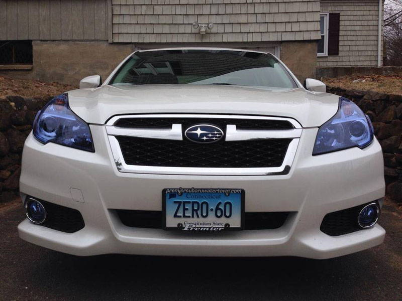Subaru with Blue Lamin-x headlight film covers
