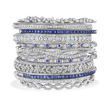 Stack of sapphire and diamond bangle bracelets