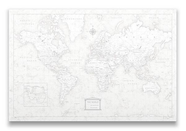 World Map Pin Board Classic Marble