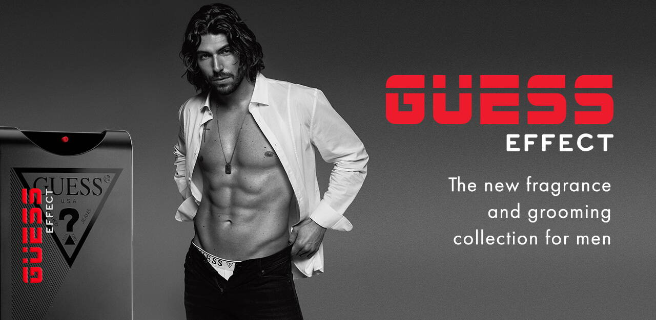 GUess effect grooming and fragrance products for men