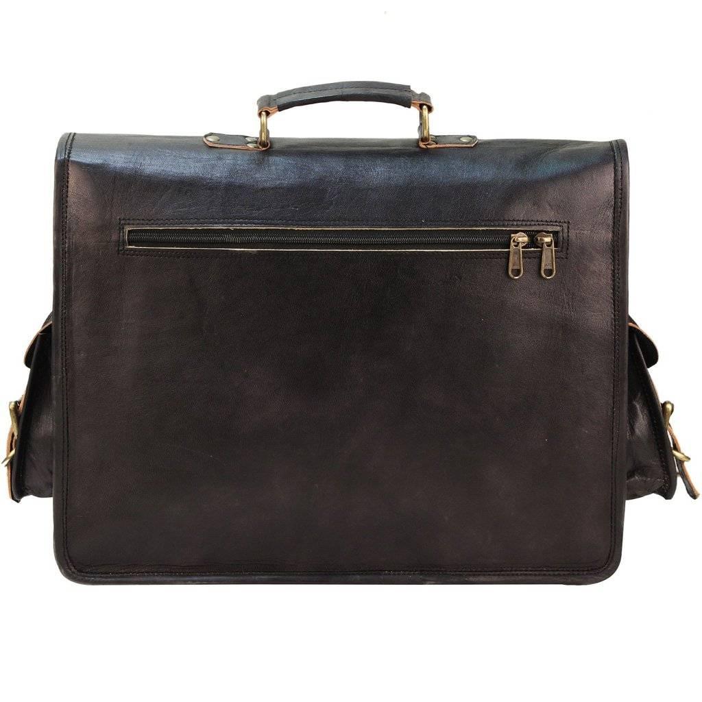 Black Leather Laptop Briefcase - Full Grain Messenger Bag for Men