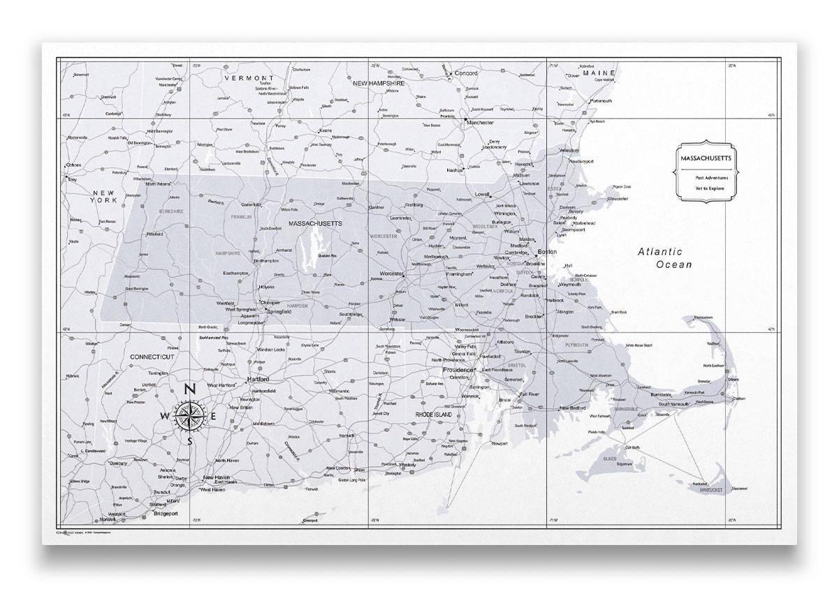 Massachusetts Push pin travel map color splash
