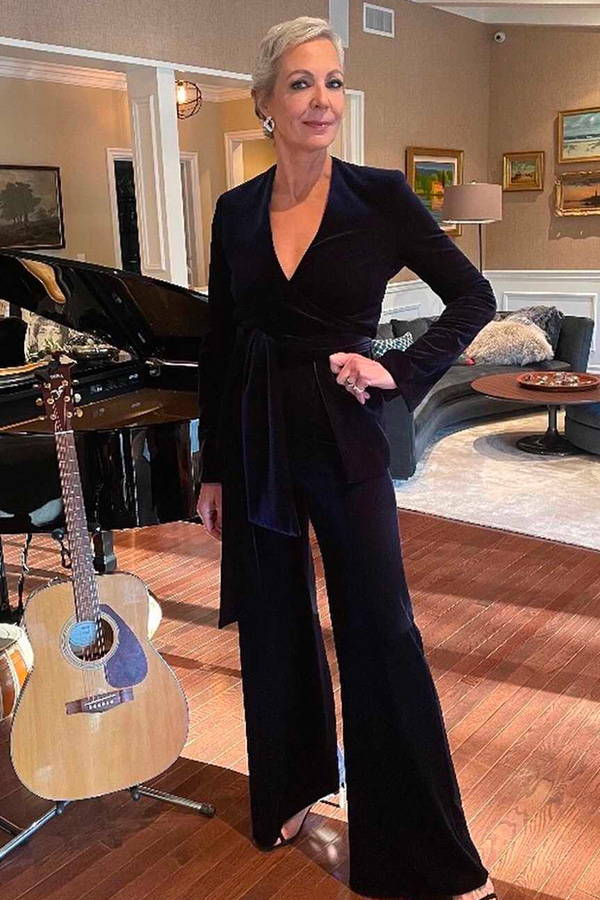 Allison Janney wears Galvan London Velvet Blue Blazer and Trousers