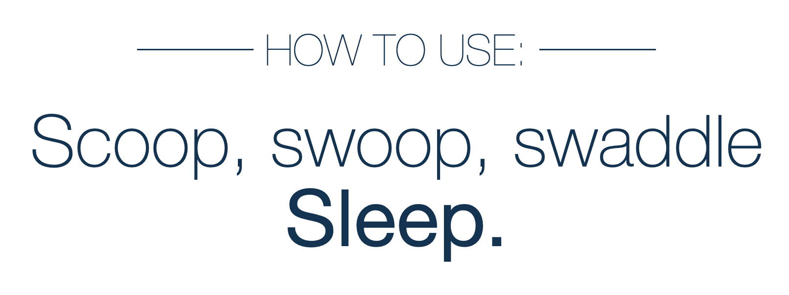 Picture that reads: How to Use: Scoop, Swoop, Swaddle Sleep