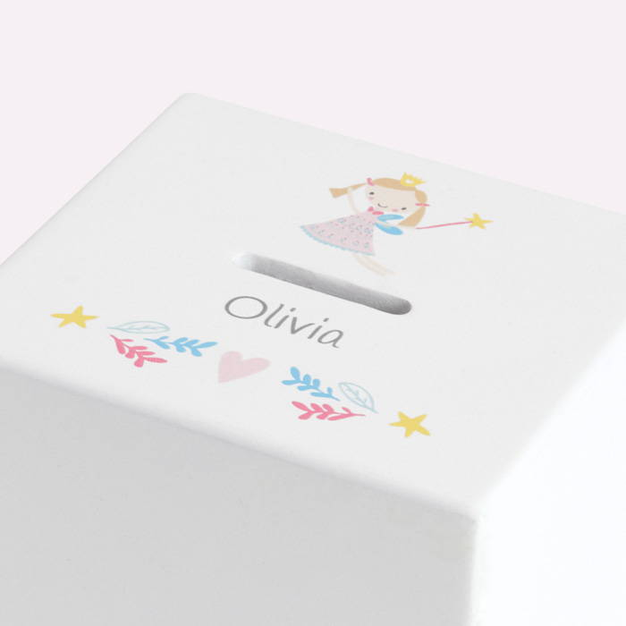 White money box with fairy print