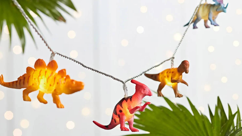 Dinosaur string lights illuminated