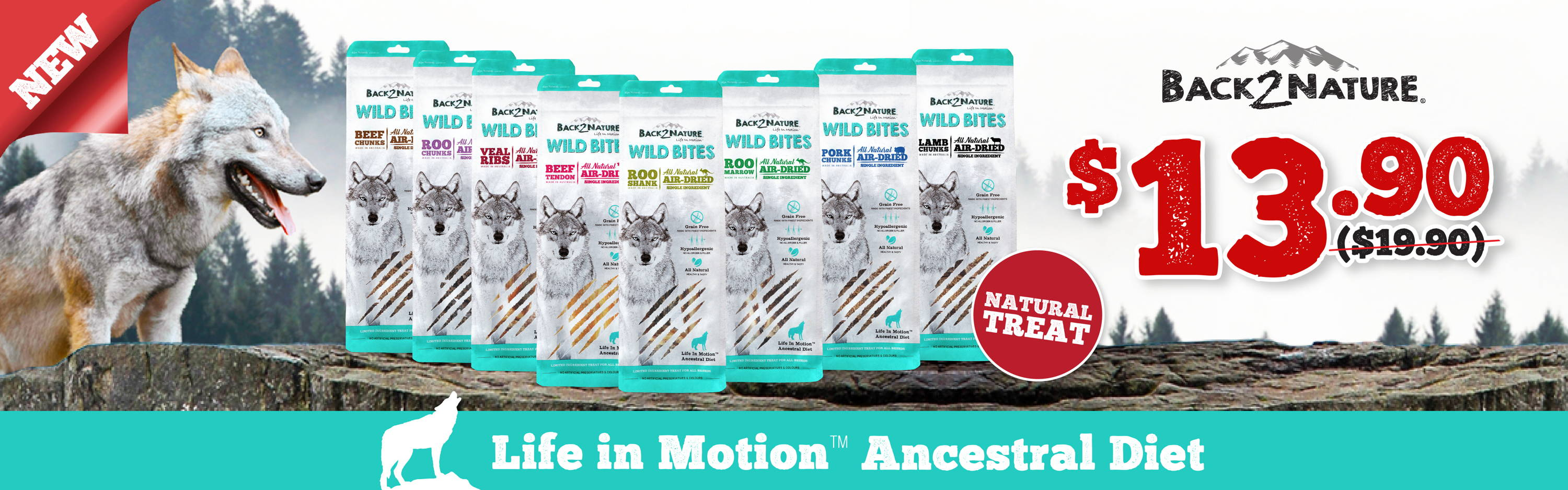 back2nature wild bites air-dried dog treats promotion banner 1
