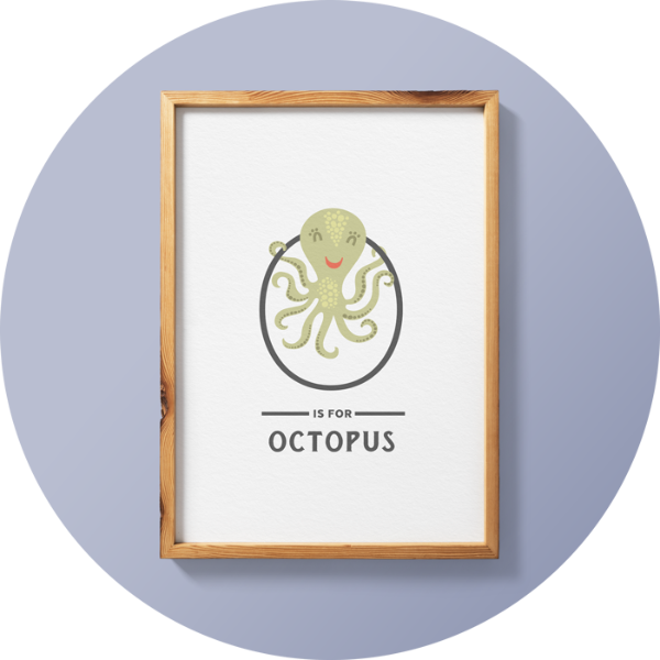 O is for Octopus Animal Print