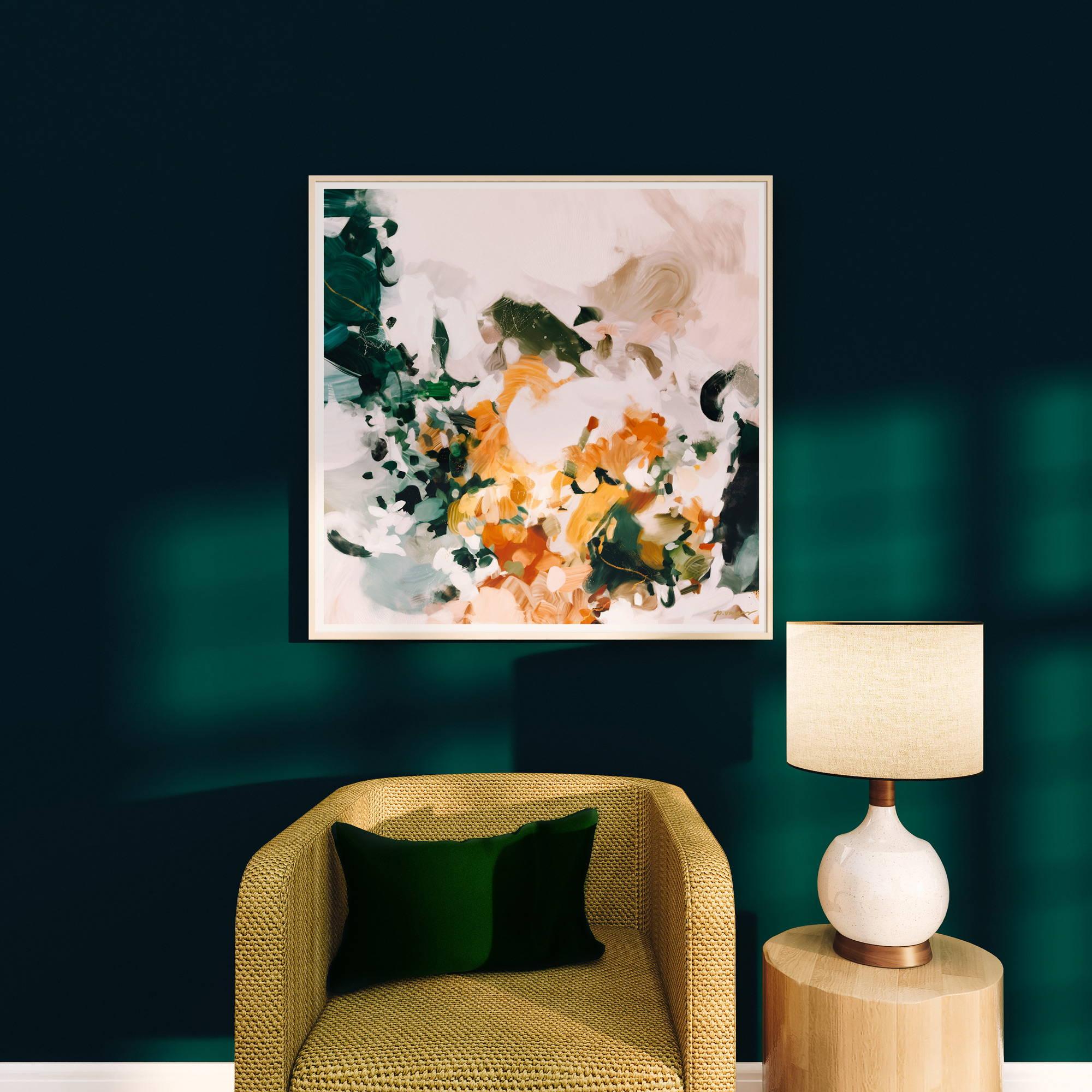 Aspen - abstract art for dark green living room - dark green wall- wall art- dark and moody living room