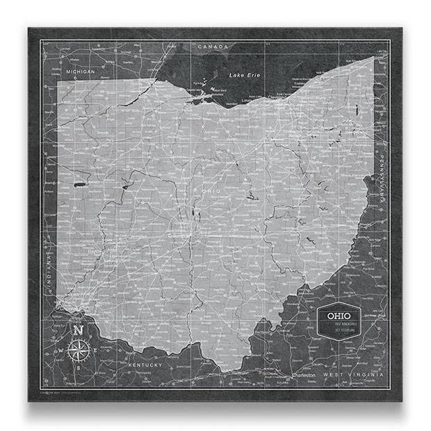 Ohio Push pin travel map modern slate